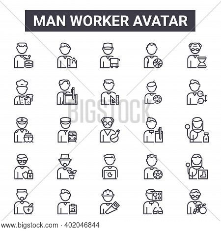 Man Worker Avatar Outline Icon Set. Includes Thin Line Icons Such As Web Administrator, Baker, Autho