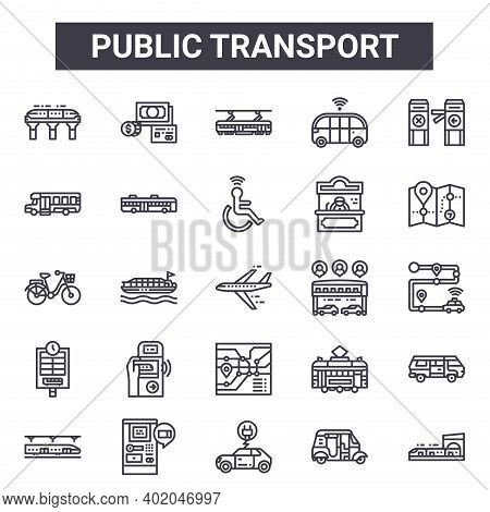 Public Transport Outline Icon Set. Includes Thin Line Icons Such As Monorail, Minibus, Transport, Tr