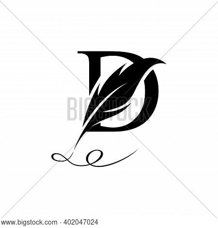 Initial Letter D Logo With Feather. Trendy Design Concept Luxury Feather Element And Letter D For Co