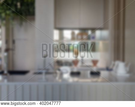 Coffee Shop Blur Background With Bokeh, Stock Photo