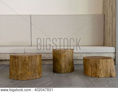 Wooden Pedestal Decorated For Display, Stock Photo
