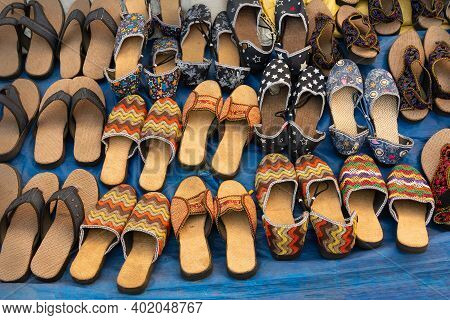 Handmade Jute Shoes On Display, Handicrafts Show During Handicraft Fair In Kolkata, West Bengal, Ind