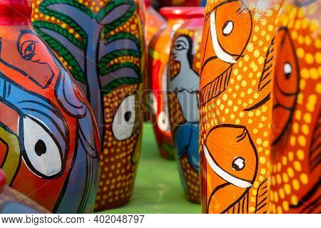 Beautiful Painted Colorful Terracotta Pots, Works Of Handicraft, For Sale During Handicraft Fair In
