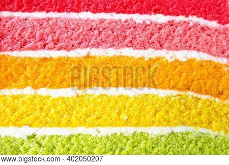 Closeup Texture Layer Of Rainbow Cake .delicious Rainbow Cake.