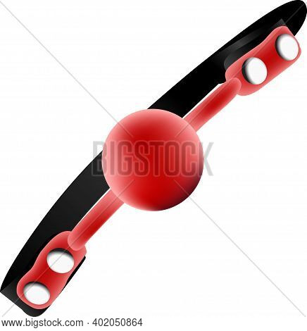 Red Silicone Ball For Sexual Perversion. Vector Illustration