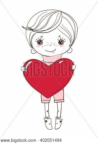 Cute Boy Is Holding A Big Red Heart. Doodle Illustration For Wedding, Valentine S Day. Children S Ca