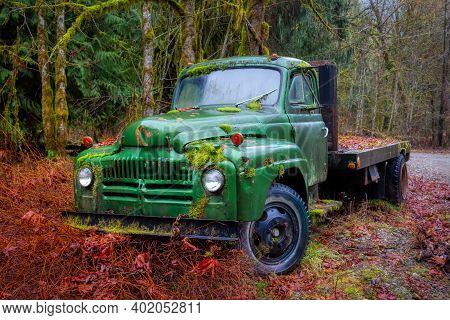 Old Vintage Abandoned Truck Broken Down In The Woods. Taken Near Squamish, British Columbia, Canada.