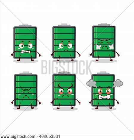 Fully Charge Battery Cartoon Character With Various Angry Expressions