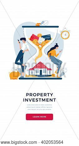 Property Investment Banner. Couple Of Investors Buy A House, Await For Generating Profit From Long-t