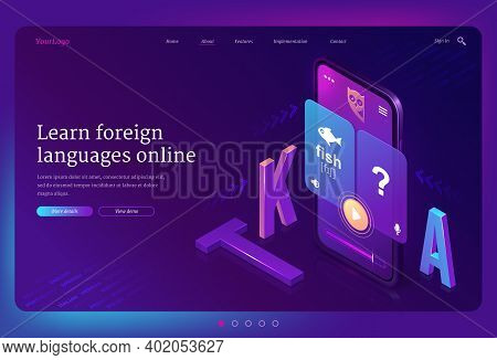 Online Foreign Language Learning Isometric Landing Page. Mobile Phone With Multilingual Application
