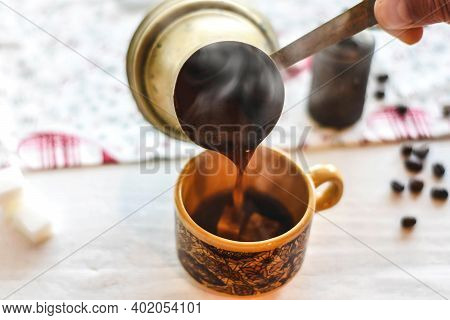 Wake Up Coffee Espresso, Pouring Fresh Hot Black Coffee Into The Cup/ Hot Black Turkish Coffee Servi
