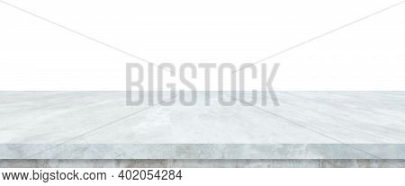 Empty Grey Cement Stone Table Isolated On White Background, Banner, Stone Cement Concrete Table Top,