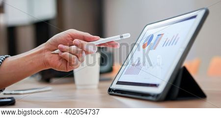 Business Background. Office, Workplace With Laptop And Smart Phone. Workplace Or Workspace Of Desk I