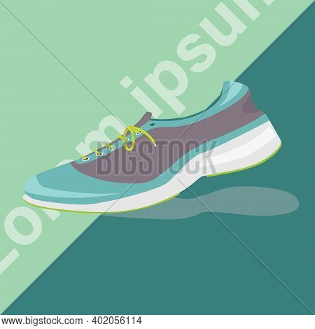Show Shoes For Running Green And Black Tone And Traveling. It Has A Two-tone Background And Oblique