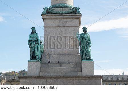 Jubiläumssäule, Jubilee Column On The Schlossplatz Park In The City Center Of Stuttgart Towards The