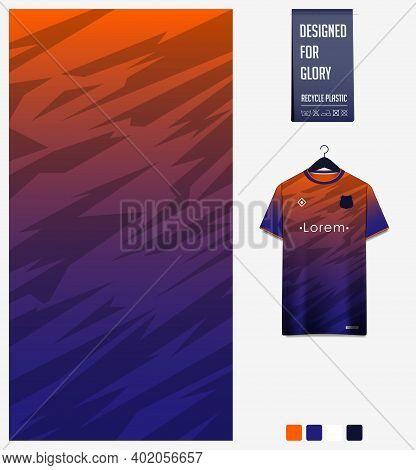 Fabric Pattern Design. Mosaic Pattern On Blue Orange Background For Soccer Jersey, Football Kit, Bic