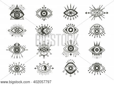Mystical Eyes Symbols Set. Esoteric Signs With Sacred Vision Circle And Arrows Occult Look Amulets W