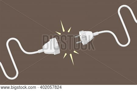 Connecting Plug And Electrical Extension Cable Illustration. White Cords With Joined Together Househ