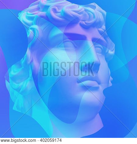 Collage With Plaster Antique Sculpture Of Human Face In A Pop Art Style. Creative Concept Image With