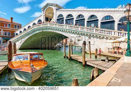 Venice, Italy - June 15, 2018: The Grand Canal and The Rialto Bridge in Venice