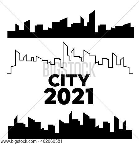Silhouette City Scape At Design. Cityscapes Silhouettes Vector