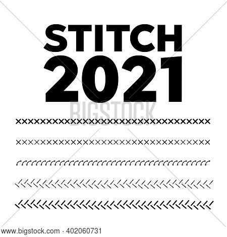 Embroidery Pattern. Red And Blue Stitches. Sewing Machine Stitches Zig Zag Line