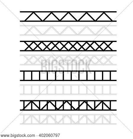 Steel Truss Construction. Metal Framework Aluminum Construction For Billboard Vector