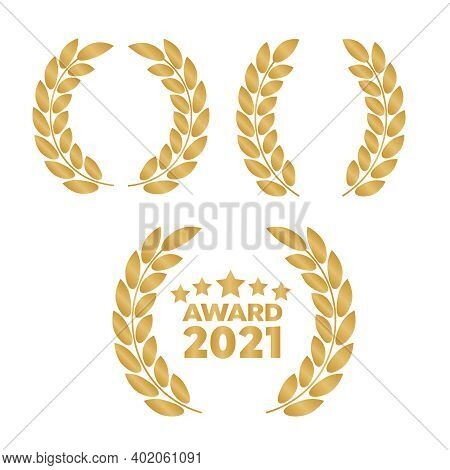 Award Signs With Laurel Wreath. Laurel Wreath With Golden Ribbon