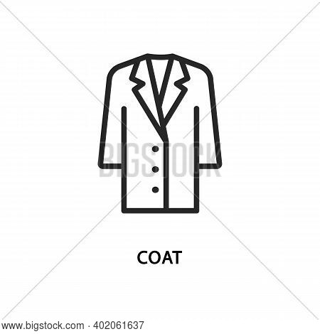 Vector Illustration Fashion Coat Flat Line Icon.
