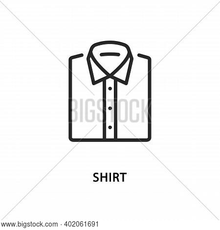 Folded Mens Shirts Vector Flat Line Icon.