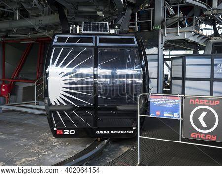 Demanovska Dolina, Jasna, Slovakia August 29, 2020: Entry To Ski Cable Car Cabin To Chopok Mountain