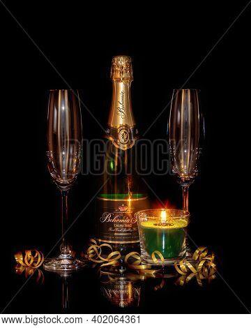 Bottle of Bohemia Sekt - Bohemia Sekt is sparkling wine, most popular champagne in Czech republic.