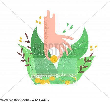 Human Hand Putting Golden Coin Into Transparent Money Box Vector Flat Illustration. Philanthropist A