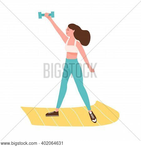 Active Woman Training With Dumbbell On Mat Vector Flat Illustration. Sportswoman Doing Fitness Exerc