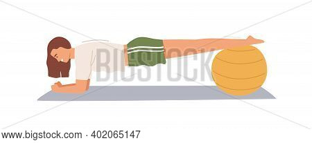 Sportswoman Practicing Plank Exercise, Putting Legs On Fitball Vector Flat Illustration. Active Stro