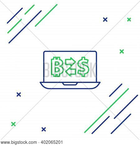 Line Cryptocurrency Exchange Icon Isolated On White Background. Bitcoin To Dollar Exchange Icon. Cry