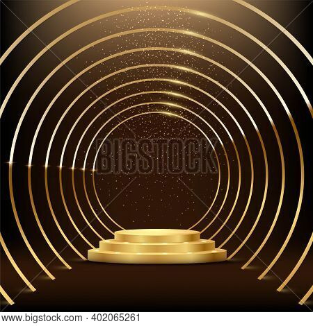 Golden Round Metal Circle Rings Leading To Podium. Shining Abstract Background With Gold Glitter. Ye