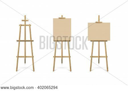 Easel Standing With Beige Board Or Canvas Set. Blank Blackboard On Wooden Tripod For Art, Painting,