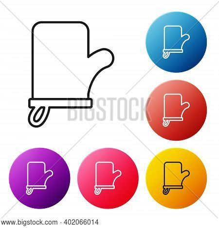 Black Line Sauna Mittens Icon Isolated On White Background. Mitten For Spa. Set Icons Colorful Circl