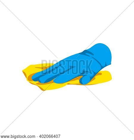 Hand Holding Cleaning Rag. Human Hand In Blue Rubber Glove With Cleaning Tool. Housework, Hygiene Cl