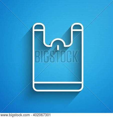 White Line Plastic Bag Icon Isolated On Blue Background. Disposable Cellophane And Polythene Package