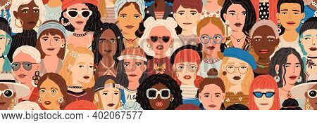 Seamless Pattern With Female Faces. Banner With Crowd Of Fashion And Stylish Modern Women. Colorful