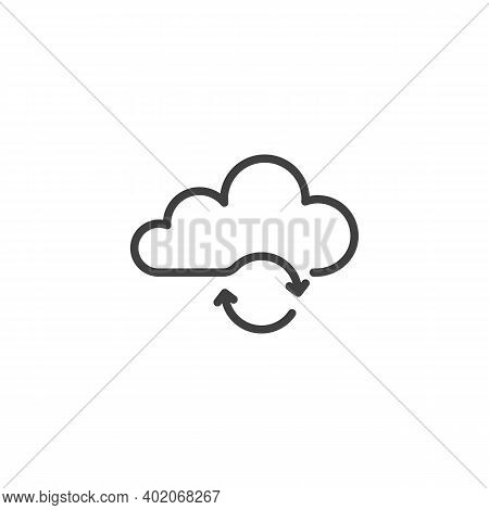 Cloud Update Line Icon. Linear Style Sign For Mobile Concept And Web Design. Cloud Computing Sync Ou