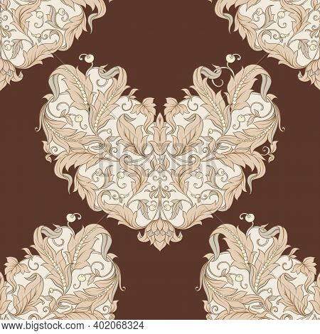 Seamless Pattern, Background In The Style Of Baroque, Renaissance Trendy Floral Vintage Pattern Colo