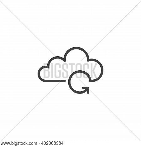 Cloud Computing Backup Line Icon. Linear Style Sign For Mobile Concept And Web Design. Backup Cloud