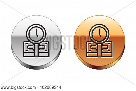 Black Line Time Is Money Icon Isolated On White Background. Money Is Time. Effective Time Management
