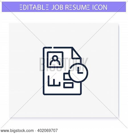 Chronological Resume Line Icon. Career Biography Chronology. Personal Recruitment Information. Job S