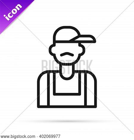 Black Line Plumber Icon Isolated On White Background. Vector