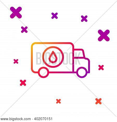 Color Line Plumber Service Car Icon Isolated On White Background. Gradient Random Dynamic Shapes. Ve