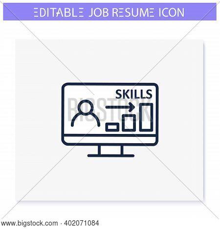 Computer Skills Line Icon. Career Expertise, Resume Column. Personal Recruitment Information. Job Se